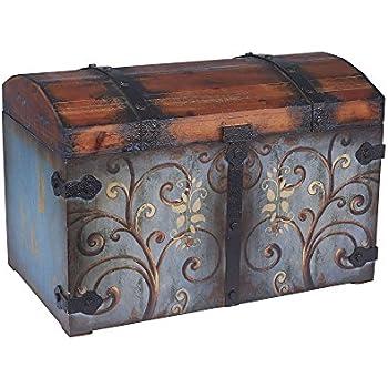 Household Essentials 9502 1 Vintage Wood Storage Trunk, Large, Blue  Body/Brown