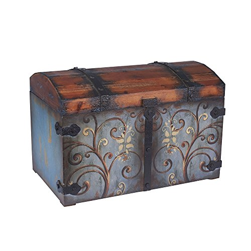 Household Essentials 9502-1 Vintage Wood Storage Trunk, Large, Blue Body/Brown Lid/Floral Design