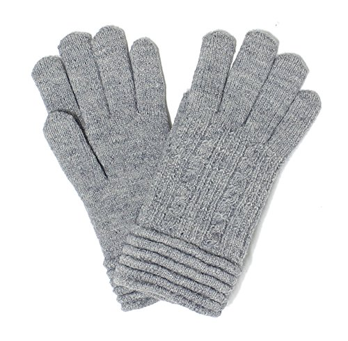 LL. Womens Warm Winter Knit Fashion Gloves, Fleece Lined- Many Styles (Gray Rib) by Accessory Necessary