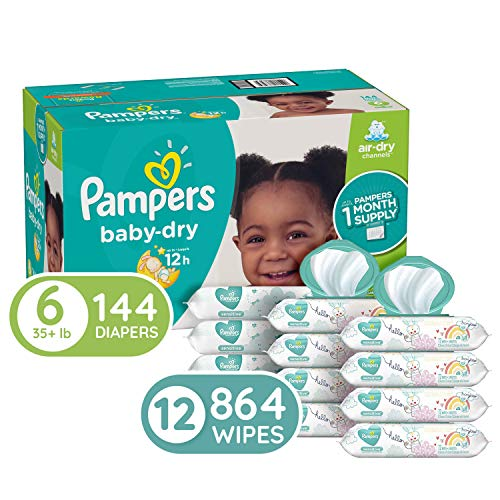 Diapers Size 6, 144 Count and Baby Wipes – Pampers Baby Dry Disposable Baby Diapers, ONE Month Supply with Pampers Sensitive Water Baby Wipes, 864 Count