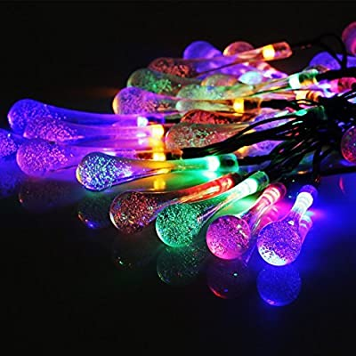 Solar Strings Lights, Perfectwo 20ft 30 LED Water Drop Solar Fairy Lights, Waterproof Christmas Lights for Garden, Patio, Yard, Home, Parties- Multi Color