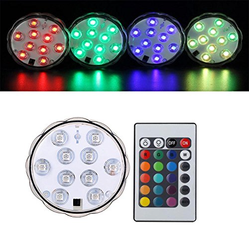 4 Pack Remote Controlled RGB Submersible LED Lights AAA Battery Operated LED Decorative Lights(16 colored-4 Pack)