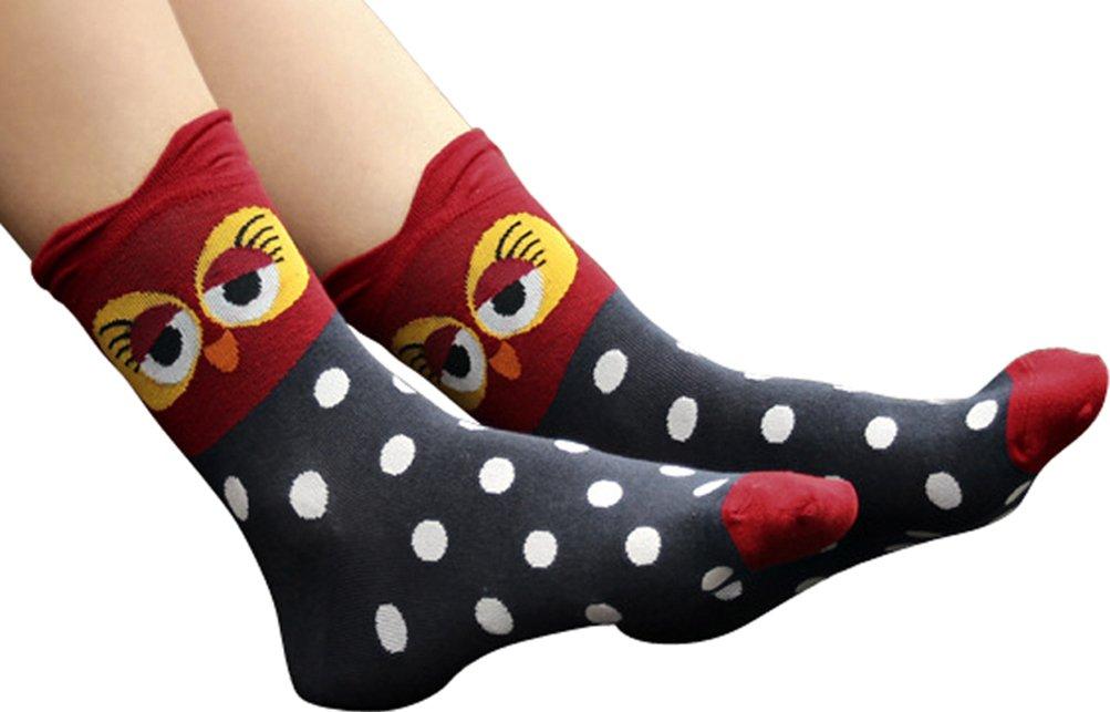 Women's Lady's Cute Owl Design Cotton Socks,5 Pairs Multi Color One Size by Bienvenu (Image #4)