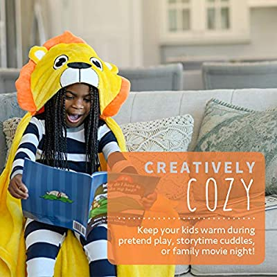 Canoogles Lion Wearable Hooded Blanket for Kids | Super Soft & Cozy with Corner Hand Pockets | Machine Washable | 40