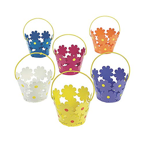 Fun Express - Tinplate Daisy Pails W/handles for Easter - Party Supplies - Containers & Boxes - Metal Containers - Easter - 12 Pieces
