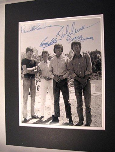 Johns Autographs (Beatles Circa 1960,s 11x14 Double Matted 8x10 Photo Print John Lennon Ringo Paul Mccartney George Harrison Reprint Signatures Autograph)