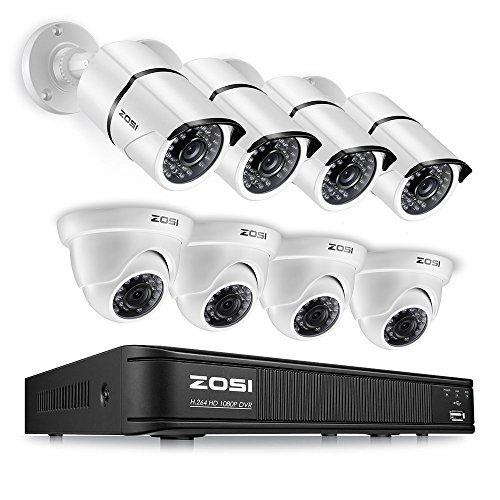 ZOSI 1080p HD-TVI Home Surveillance Camera System,8 Channel CCTV DVR Recorder (No Hard Drive) and (8) 2.0MP 1920TVL Outdoor/Indoor Surveillance Bullet Dome Cameras,Remote Access,Motion Detection - Drive Cooler Hard Kit