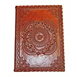 EMBOSSED DOUBLE MEDALLION LEATHER JOURNAL SK203 5x.625X7''H (Light Brown)