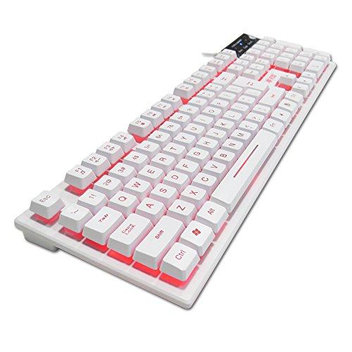 K-RAY K6 Backlit Wired Gaming Keyboard,3 Colorways Backlight Purple/Red/Blue (104 keys) (white)