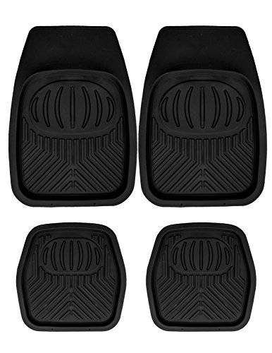 Mann Pack of 4 Front & Rear, Driver & Passenger Seat Ridged Heavy Duty Rubber Floor Car Mats Black (Rubber Car Mats For Nissan Sentra compare prices)