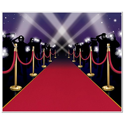 Pack of 6 Red Carpet with Paparazzi Silhouettes Mural Photo Backdrop Party Decorations (Paparazzi Backdrop)