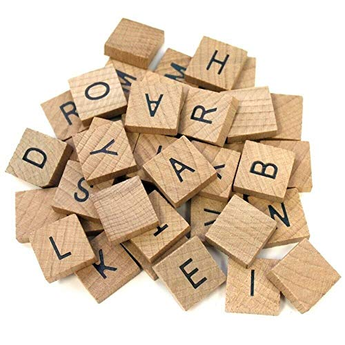 Child 3/4' Pendant - 40 Flat Smooth Wooden Alphabet Tiles 0.75'' Square Altered Art Pendant Jewelry Making Charms and Pendants