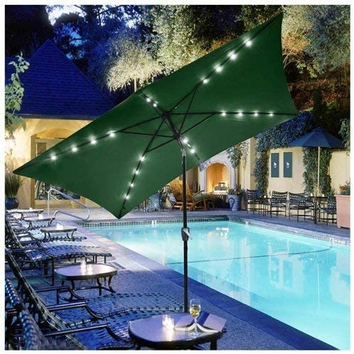 Rectangle Patio Umbrella w Solar LED Lights 10 x6.5 Green