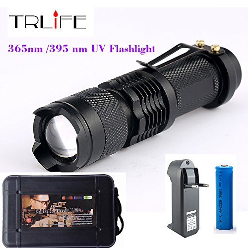 365nm UV Flashlight CREE LED SK68 Purple Violet Light UV Lam