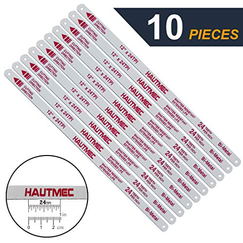 HAUTMEC Hacksaw Replacement Blades BI-METAL (10 Pack) High Speed Steel Grounded Teeth 24 TPI x 12