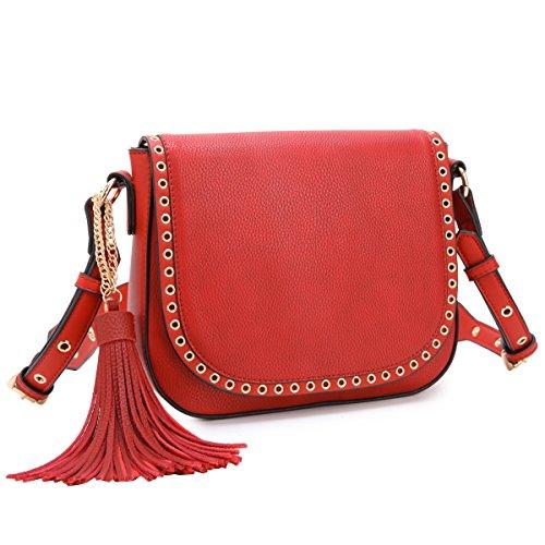 Tassel Grommets Crossbody Bags for Women Designer Shoulder Purses Vegan Leather Messenger Bag ()