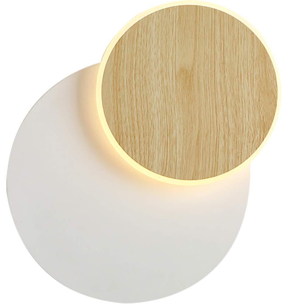 Round XGBIN LED Holzmaserung Licht , Kreative Mode Wohnzimmer Wandleuchte , Moderne minimalistische Schlafzimmer Nachttischlampe , Mode Schmiedeeisen Bracket Light Square Round,Round