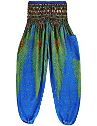 Thai Style Pants Lake Blue Summer Beach Bohemian High Waist Harem Loose Women Trousers