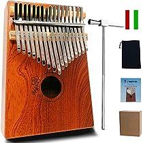 MOTYYA Kalimba 17 Key Thumb piano, Mbira 17 Tone Finger Piano Portable Musical instrument Toys Solid Sapele Body with Tune Hammer/Bag