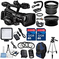 Canon XF300 High Definition Professional Camcorder with 2pc 32GB High Speed Memory Cards + Wideangle & Telephoto Lenses + Accessory Bundle - International Version