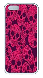 IMARTCASE iPhone 5S Case, Pink Skull Background Case for Apple iPhone 5S/5 TPU - White