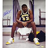 NBA Los Angeles Lakers Magic Johnson Sitting on Chair Purple Jersey Vertical Photograph, 6 x 20-Inch