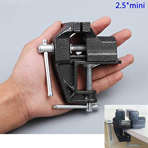 """HENGDA 2.5"""" Mini Table Clamp Small Bench Vice New upgraded cast iron manufacturing Jewelers Hobby Clamps Craft Repair Tool Portable Work Bench Vise"""