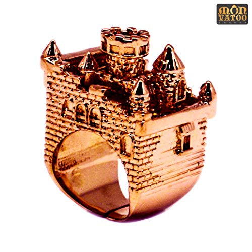 Gold Handcrafted Designer Ring - Rose Gold Castle Ring by MONVATOO London, an free-size (adjustable-band) pink gold plated castle ring jewelry