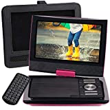 SUNPIN 11' Portable DVD Player with 9.5 inch HD Swivel Screen, Dual Earphone Jack, Supports SD Card/USB/CD/DVD and Multiple Disc Formats, Headrest Mount Holder, Car Charger, Power Adaptor (Rose Red)