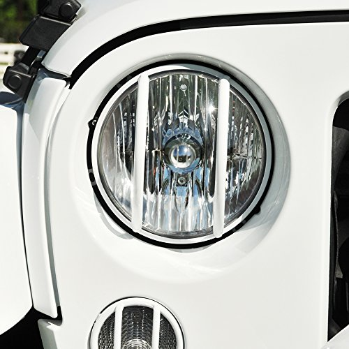 Black Mountain 2007-Current Jeep Wrangler JK White Euro Guard Light 8 Piece Set