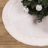 "Valery Madelyn 48"" Frozen Winter Silver White Christmas Tree Skirt with Sequins and Faux Fur Trim Border, Themed Christmas Ornaments (Not Included)"