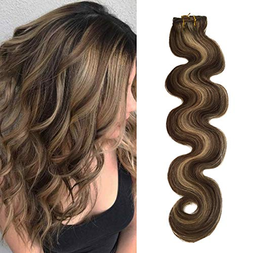 Wavy Clip in Hair Extensions Human Hair Chocolate Brown to Blonde Highlights 22 inch Balayage Ombre Long Hair Extensions Clip on Full Head 4/613 Remy Hair 70g 7 Hair Piece