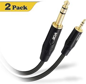 VCE 3,5 mm a 6,35 mm Macho a Macho Cable Audio Estéreo HiFi Cable Cable Jack de Estéreo TRS de Audio 2m: Amazon.es: Electrónica