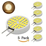 Bqhy® Dimmable LED G8 Bulb- 120V Warm White T4 G8 Bi-pin LED Halogen Replacement Bulb for Under Counter Kitchen Lighting, Under-cabinet Accent Puck Light Desk Lamp Lighting(pack-5)