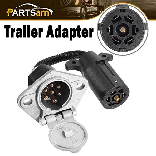 Partsam 7 RV Blade to 7 Way Pin Type Adapter Vehicle End Connector, 7 Way Blade to 7 Pole Round RV Towing Trailer Plug Wiring Harness Electrical Adapter (Pole Trailer 7 Blade Rv)