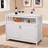 Costzon Kitchen Storage Sideboard Dining Buffet Server Cabinet Cupboard with Shelf (White)