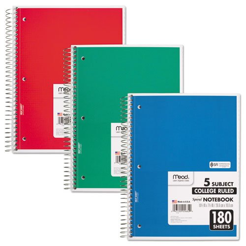 MEAD PRODUCTS 5682 Spiral Bound Notebook, College Rule, 8 x 10-1/2, White,Twin wire, 180 Sheets