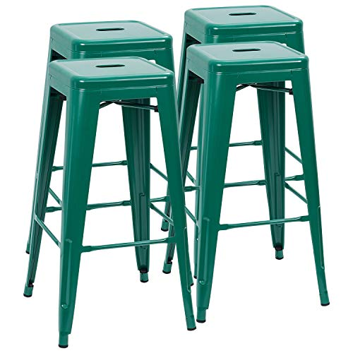 Furmax 30 Inches Metal Bar Stools High Backless Stools Indoor-Outdoor Stackable Stools Set of 4 (Green) ()