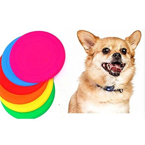Silikon Haustier Hund Katze Frisbee Scheiben Spielzeug Herausgehen Trainingsgeräte Zufällige Farbe