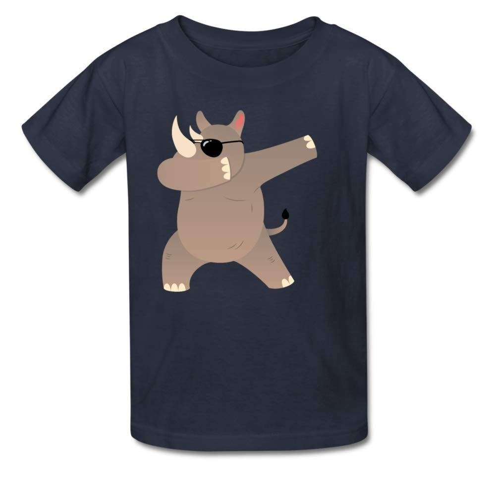 Bart Perkin Boys Girls Kids Dabbing Rhino with Sunglasses Design O-Neck Tshirt XL Navy Blue
