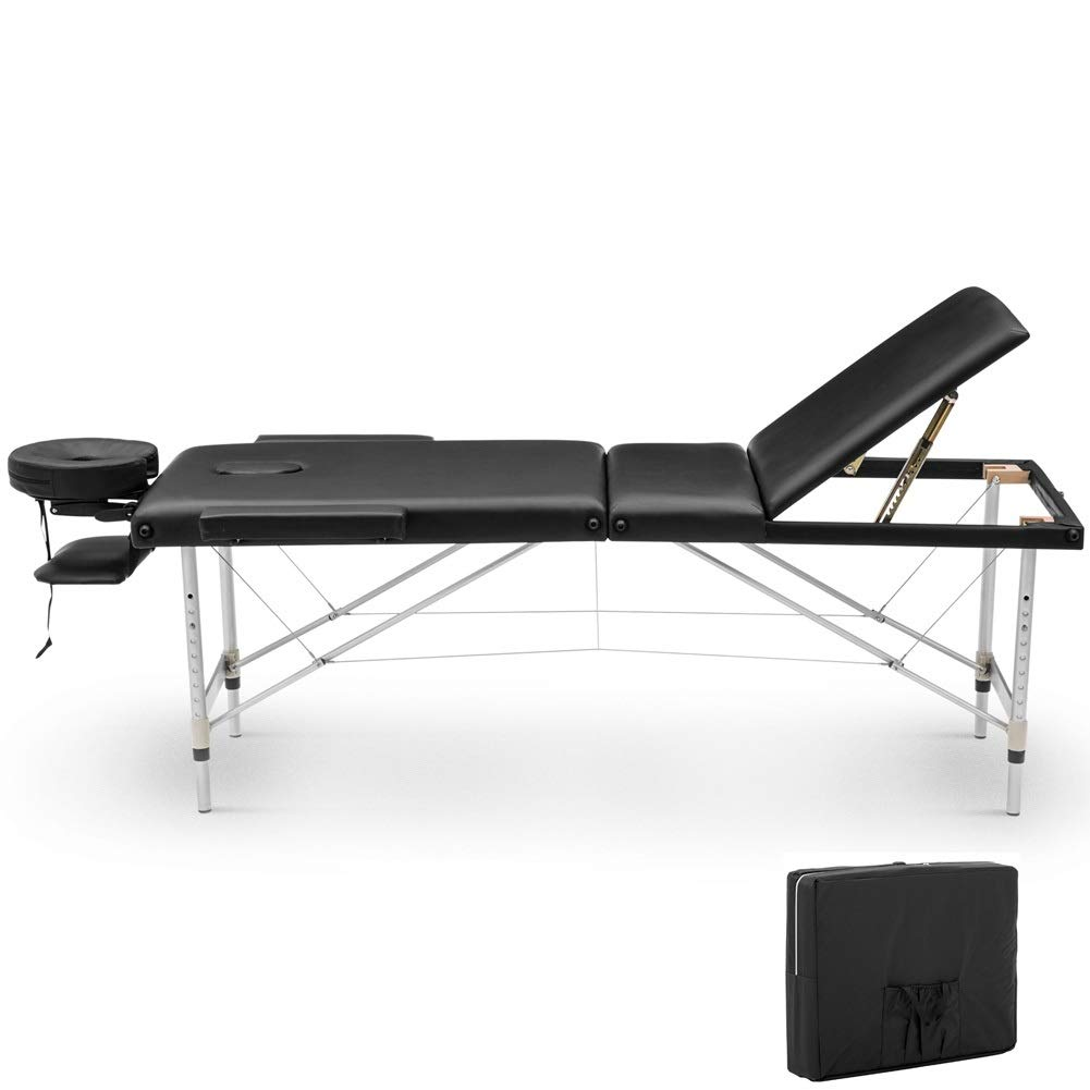 Portable Massage Table Adjustable Massage Table Free Carry Case Bed Aluminum 3 Section Right Angle Folding Massage Table Black 84'' by Cozyhome Bestone