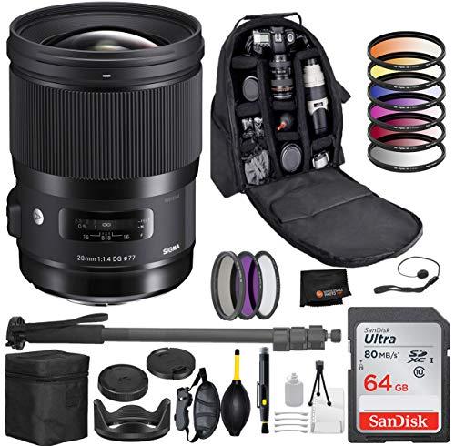 Sigma 28mm f/1.4 DG HSM Art Lens for Canon EF Mount with Professional Bundle Package Deal – 9 pc Filter Kit + SanDisk 64gb SD Card + Backpack + More