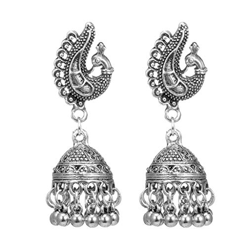 eletyuty Earrings Fashion Animal Bells Tassel Pendant Vintage Women Ethnic Dome Carved Jewelry Gifts Wedding Decoration Supplies Silver Peacock
