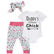 Baby Girls' Outfit Set Daddy Other's Chick Short Sleeve Bodysuit (white short, 0-3 Months)