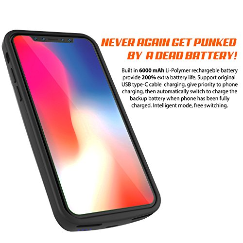 iPhone X Battery Case, PunkJuice 6000mAH Fast Charging Power Bank W/ Screen Protector | Integrated USB & Lightning Port | Slim, Secure and Reliable | Designed for Apple iPhone 10 [Black] by punkcase (Image #2)