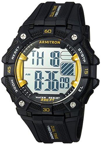Armitron Sport Men's 40/8403YBK Yellow Accented Digital Chronograph Black Resin Strap (Armitron Resin Strap)