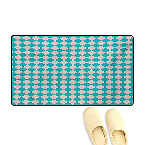Doormat,Vintage Retro 50s 58s Inspired Kitchen Tiles in Diamond Shapes Print,Floor Mat Bath Mat for Tub,Turquoise and Lilac,20