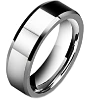DOMILINA Men's 8mm Tungsten Carbide Ring Polished Plain Comfort Fit Wedding Engagement Band Size 6-13