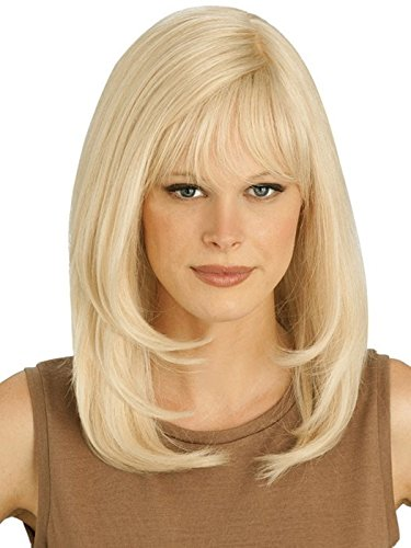 Platinum PC106 Wig Human Hair Long Layered Style Hand Tied Monofilament Top Womens Petite Avg Cap by Louis Ferre Wigs -MEDIUMBROWN