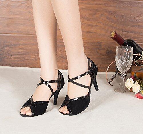 Miyoopark ,  Damen Tanzschuhe , schwarz - Black-10cm heel - Größe: 35
